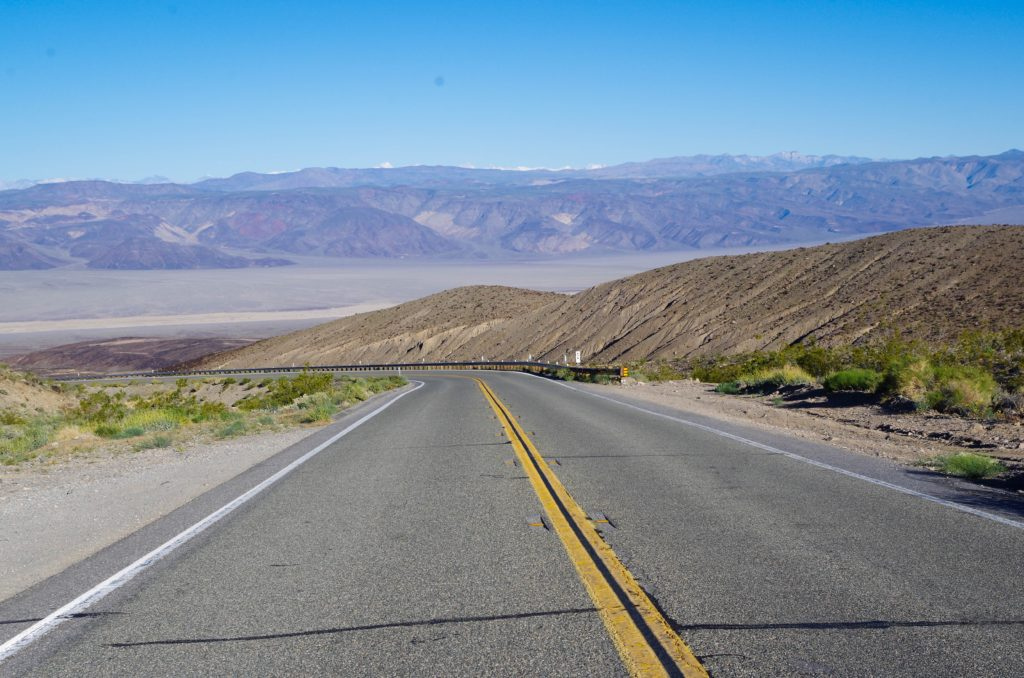 Driving into Death Valley