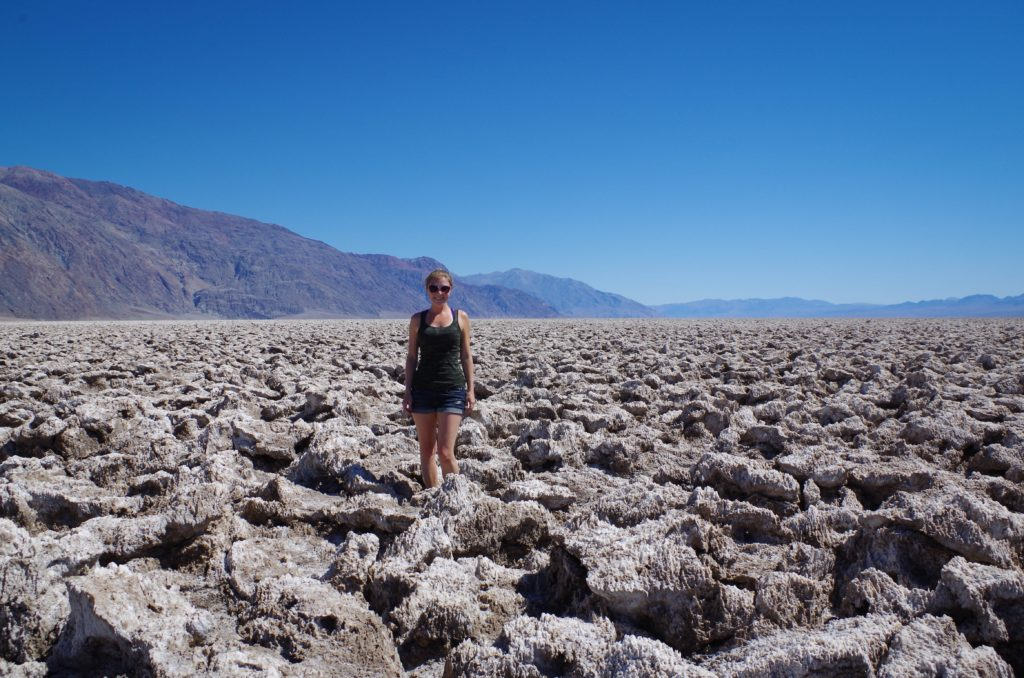 Standing in the midst of the crazy salt formations in the Devil's Golf Course.